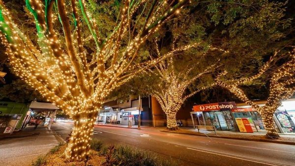 Warm white fairy lights at Racecourse Road