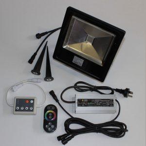 Showing off our 50 Watt rgb landscape lighting kit