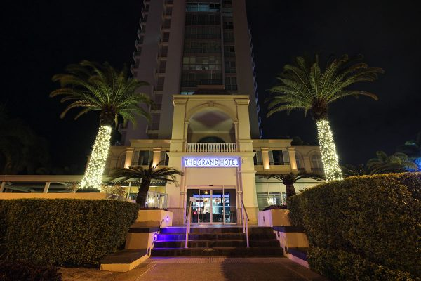 Our colour changing floods installed at The Grand Hotel, Gold Coast