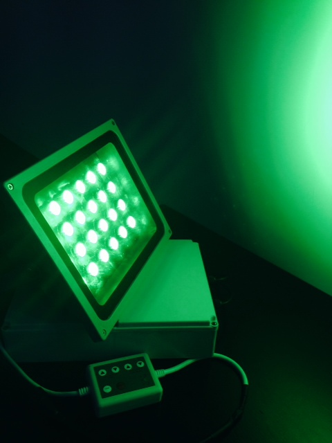 86 watt flood light set to green