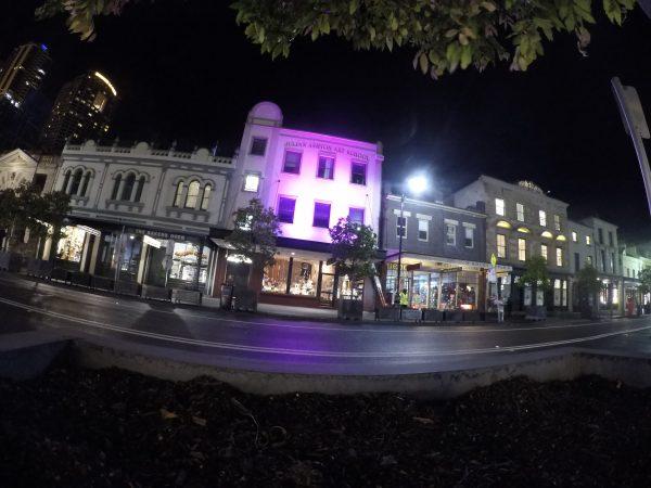 RGB Flood lights set to pink