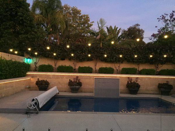 Festoon lighting over a pool
