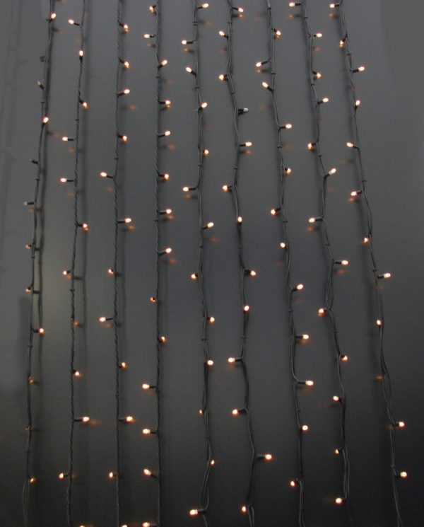 Black cable fairy light curtain example